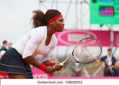 KHARKOV, UKRAINE - APRIL 22, 2012: Serena Williams vs Lesia Tsurenko during Fed Cup tie match between USA and Ukraine in Superior Golf and Spa Resort, Kharkov, Ukraine