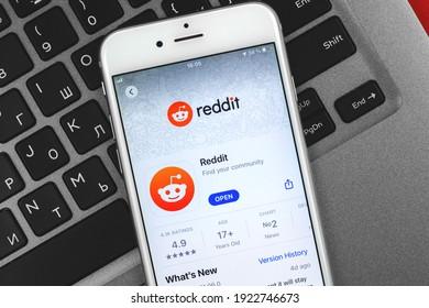 Kharkov, Ukraine - February 22, 2021: Reddit official application on screen of Apple smartphone, photo