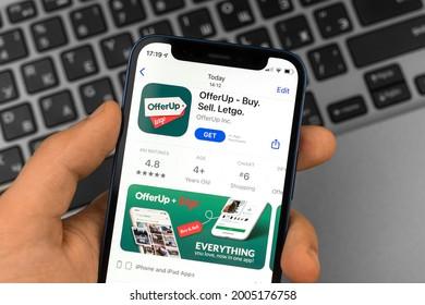 Kharkov, Ukraine - July 2, 2021: Man using OfferUp Buy Sell application, close-up