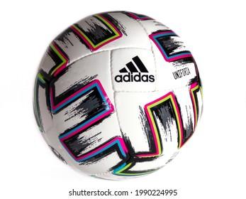 Kharkov, Ukraine - June 11,2021: soccer ball EURO 2020 Adidas Uniforia PRO SALA, designed for games on hard surfaces of indoor areas. Matchball Euro 2020 Adidas Uniforia. Concept soccer championships.