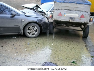 Kharkov, Ukraine - June 17, 2009: Consequences of a car accident, a wrecked car. Road traffic accident