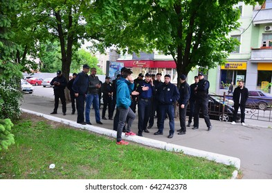 KHARKOV, UKRAINE - MAY 17, 2017: Ukrainian policemen who provide security to LGBT activists and protect them from attacks by Kharkov's Nazis and ultras