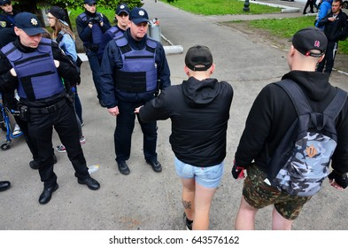 KHARKOV, UKRAINE - MAY 17, 2017: Conflict between the police and the organization of Nazis and patriots during the dispersal of the first LGBT action in Kharkov