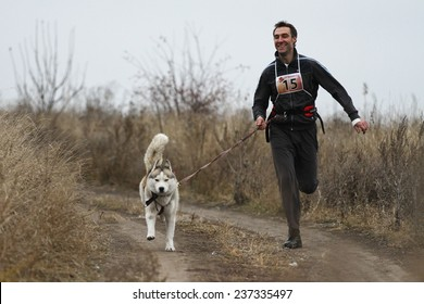 Kharkov, UKRAINE -?? November 15, 2014: Oleg Rudak at canicross heats during Men's 3100 m at Sled dogs dry land race Autumn Cup - 2014