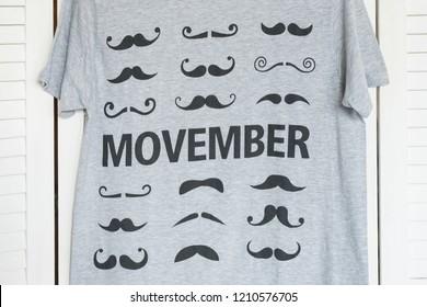 KHARKOV, UKRAINE- SEPTEMBER 12, 2018: Gray T-shirt Movember. Fashionable concept
