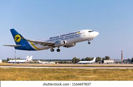 Kharkov/Ukraine -  August 19, 2018: Boeing 737-36Q UR-GBD of Ukraine International Airlines  taking off in Kharkov Airport