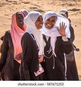 Khartoum, Sudan - Dec 19, 2015: Young Sudanese girls posing for a portrait.