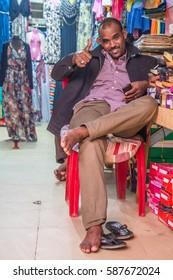 Khartoum, Sudan - Dec 19, 2015: Portrait of a local Sudanese man posing on the market.