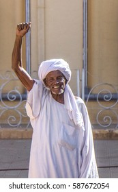 Khartoum, Sudan - Dec 19, 2015: Old Sudanese man cheering.