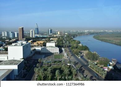 Khartoum, Sudan - November, 18, 2017: Aerial view of View of the Nile and Tuti island