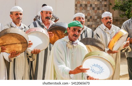 Khemisset, Morocco July 16, 2015 : A group of musicians, traditional dress in wedding, enjoy and dance.
