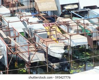 KHERSON, UKRAINE, 28 JULY 2016: Boat station. Top view