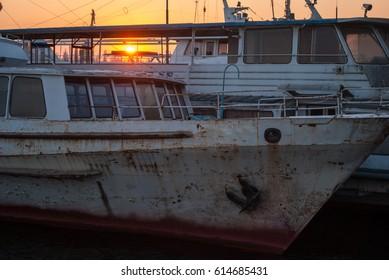 Kherson, Ukraine - April 29, 2017: Rusty ships