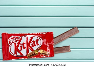 KHERSON, UKRAINE - AUGUST 17, 2018: KHERSON, UKRAINE - NOVEMBER 11, 2014:pened Kit Kat chocolate bar.