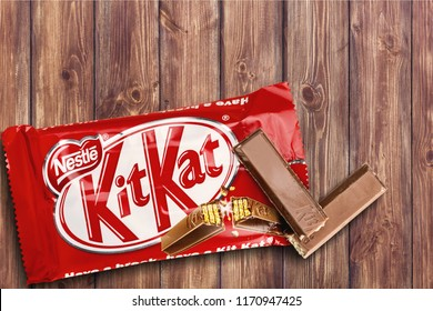 KHERSON, UKRAINE - AUGUST 21, 2018: Kit Kat is a chocolate covered wafer bar isolated on white background