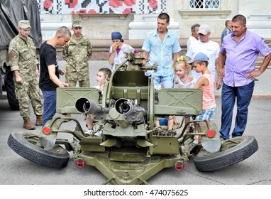 KHERSON, UKRAINE - AUGUST 24, 2016: Show of Ukrainian army machinery and armament on celebrating 25-th Independence Day of Ukraine as the demonstration of dead earnest  to resist Russian aggression.