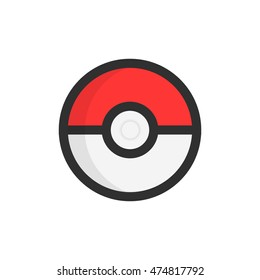 Kherson, Ukraine - August 27, 2016: Simple pokeball toy logo on paper. Simple image of pop game and smartphone application Pokemon Go