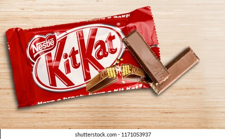 KHERSON, UKRAINE - AUGUST 27, 2018: Kit Kat is a chocolate covered wafer bar isolated on white background