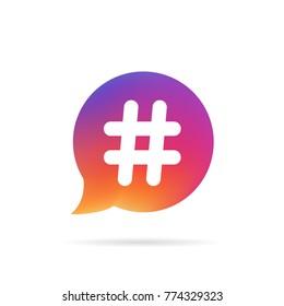 Kherson, Ukraine - December 13, 2017: Gradient speech bubble with popular hashtag like Instagram logo graphic design isolated on white background