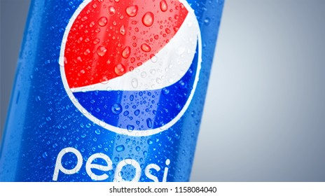 KHERSON, UKRAINE - FEBRUARY 06, 2016: Pepsi is a carbonated soft drink produced PepsiCo. Created in 1893 and introduced as Brad's Drink, it was renamed as Pepsi-Cola in 1898 then to Pepsi in 1961