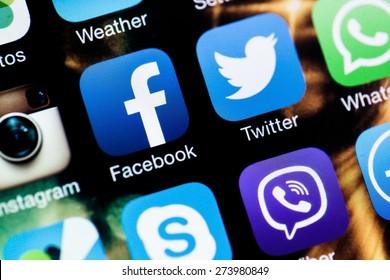 KHERSON, UKRAINE - JANUARY 15, 2014: Social Media, Facebook, Symbol.