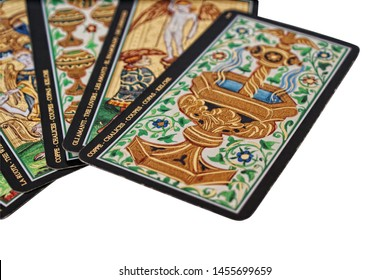 Kherson, Ukraine - July 19, 2019:  Tarot cards on white background, isolated object. Tarot card Coupes