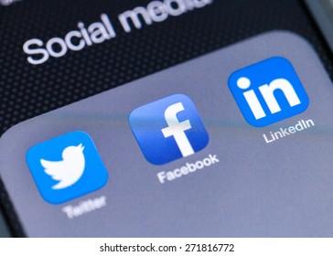 KHERSON, UKRAINE - JUNE 16, 2014: Facebook, twitter, social.