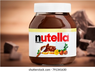 KHERSON, UKRAINE - MARCH 03, 2016: TURKEY - MARCH 6, 2014 Editorial photo of Nutella hazelnut spread jar on white background including clipping path. Nutella has manufacturing facilities in Turkey now