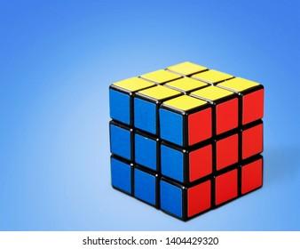 KHERSON, UKRAINE - MAY 13, 2019: KHERSON, UKRAINE - JULY 17, 2014: Rubik's cube on the white background.
