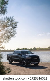 Kherson, Ukraine - May 2019. Powerful american pickup Dodge Ram.