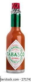 KHERSON, UKRAINE - NOVEMBER 14, 2014: Tabasco, isolated, vinegar.