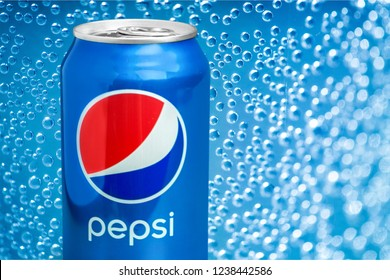 KHERSON, UKRAINE - NOVEMBER 21, 2018: KHERSON, UKRAINE - NOVEMBER 11, 2014: Pepsi Can isolated on white background