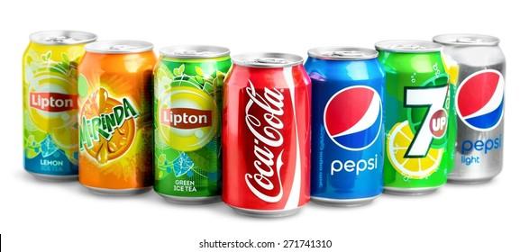 KHERSON, UKRAINE - NOVEMBER 24, 2014: Coca, cola, pepsi.