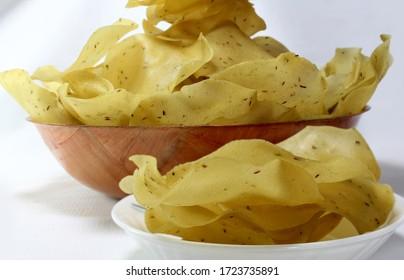 Khichiya Papad or Chawal ke Papad are home made  papad  made from rice flour.served roasted or deepfried.