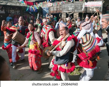 KHIJI PHALANTE, NEPAL, 6TH DECEMBER 2014 - Traditional ethnical festival, people dancing and playing on drums