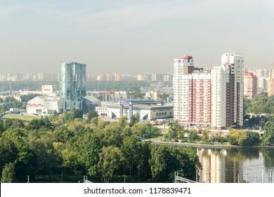 KHIMKI, MOSCOW REGION, RUSSIA - 30 august 2018: Panoramic view of Khimki basketball center and Khimki arena stadium