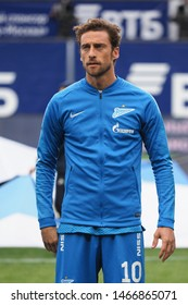 Khimki, Moscow region, Russian Federation. 21 October 2018 Arena Khimki Stadium, Russian Premier League. Dynamo Moscow vs. Zenit St.Peterburg. Claudio Marchisio with Zenit