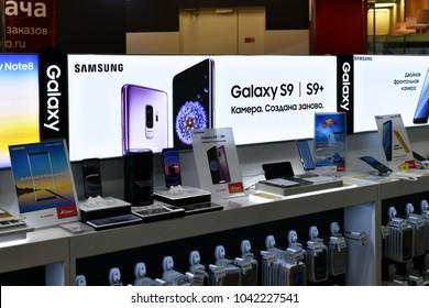 Khimki, Russia - March 08. 2018. phone Samsung Galaxy S9 in Shop Mvideo