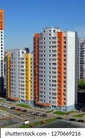 KHIMKI, RUSSIA - MAY, 2018: New buildings in New Khimki, Novokurkino, Moscow region