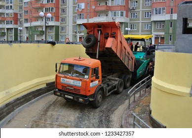 KHIMKI, RUSSIA - MAY 27, 2013: KAMAZ dump truck at construction work