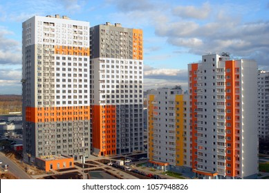 KHIMKI, RUSSIA  - OCTOBER, 2017: Construction of a new residential complex and new buildings