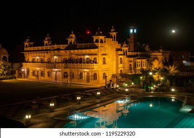KHIMSAR, RAJASTHAN, INDIA - OCT 15, 2011 : Khimsar Fort is currently a luxurious hotel in the arid countryside of Rajasthan, near Nagaur, on October 15, 2011.  Night lighting is spectacular.