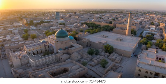 Khiva and Bukhara city sunset in Uzbekistan. Warm light over Khiva city with its beautiful Silk Road architecture