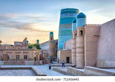 KHIVA, UZBEKISTAN - AUGUST 21: Khiva downtown with city wall and Kalta minor minaret. August 2016