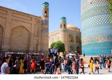 Khiva, Uzbekistan - Circa April 2018 : Bazaar near Kalta Minor inside the walled city of Itchan Kala