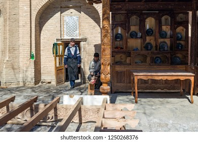 KHIVA, UZBEKISTAN - MARCH 21: Carpenter factory in the medina on March 21, 2012 in Khiva, Uzbekistan. city of approximately 50,000 people located in Xorazm Province.