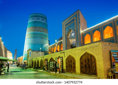 KHIVA, UZBEKISTAN - MAY 2, 2019: Historic architecture of Itchan Kala, walled inner town of the city of Khiva, Uzbekistan. UNESCO World Heritage Site.
