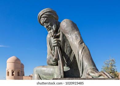 KHIVA, UZBEKISTAN - MAY 24, 2017: Monument of Al Khorezm, persian mathematician who discovered Algorithm.