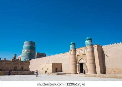 Khiva, Uzbekistan - Sep 04 2018: Ancient city of Itchan Kala in Khiva, Uzbekistan. Itchan Kala is Unesco World Heritage Site.