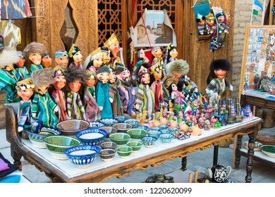 Khiva, Uzbekistan - Sep 04 2018: Souvenirs at Ancient city of Itchan Kala in Khiva, Uzbekistan. Itchan Kala is Unesco World Heritage Site.